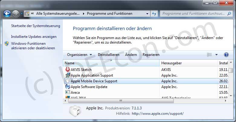 Installation von Apple Mobile Device Support prüfen (WIndos 7)